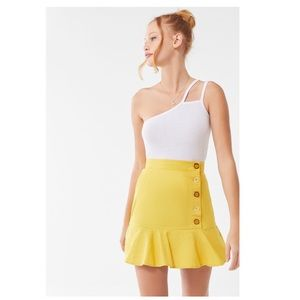 UO Lily Linen Button-Front Mini Skirt